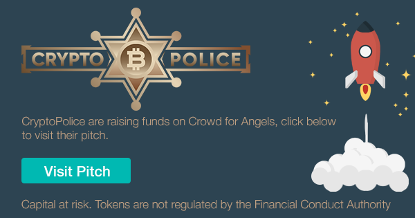 A banner for the CryptoPolice Pitch on Crowd for Angels