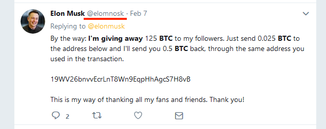 A fake tweet from supposedly Elon Musk for a scam.