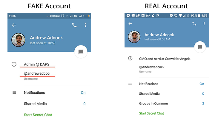An image showing 2 telegram accounts - the left image is fake and the right is real