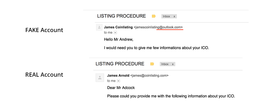 An image showing a fake and real email exchange