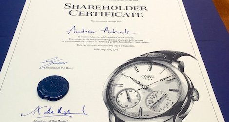 Image shows a Czapek & Cie share certificate
