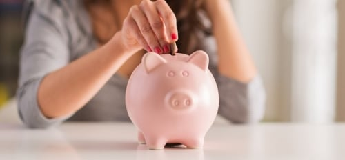 Image shows a piggy bank with a person depositing coins